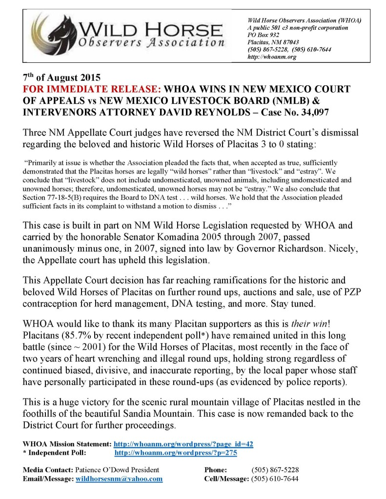 Press Release WHOA Wins in NM Court of Appeals