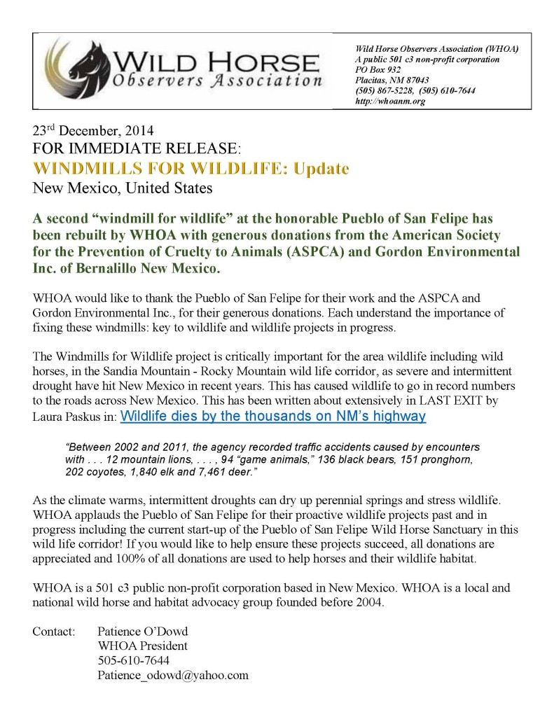 Windmills for Wildlife  Press Release